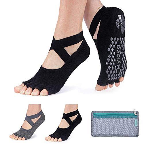 yoga socks Hylaea Yoga Socks for Women with Grip & Non Slip Toeless Half Toe Socks for Ballet Pilates Barre Dance