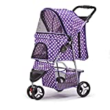 renzhen Pet Stroller Rain Cover Dog Cat Pram Puppy Trolley Stroller Foldable Shockproof