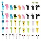 (46 piezas) OOTSR Tenedores de fruta de plástico para niños, palillo de comida de dibujos animados lindo tenedores de postre para fiesta de niños/Bento/Lonchera, Color aleatorio
