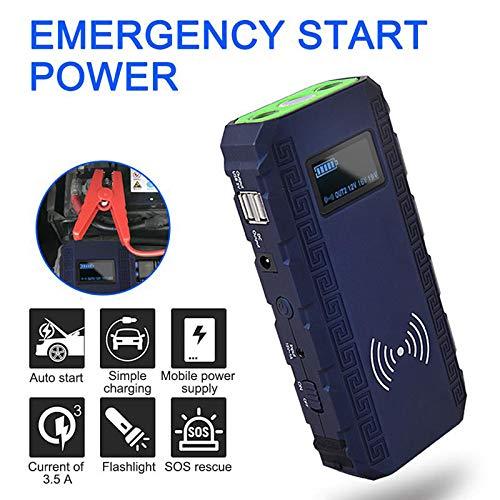 Draagbare 600A auto starthulp 68800 mAh powerbank batterij starter met USB snellaadpoorten en LED-zaklamp draadloos opladen geschikt voor 12V benzine en dieselvoertuigen