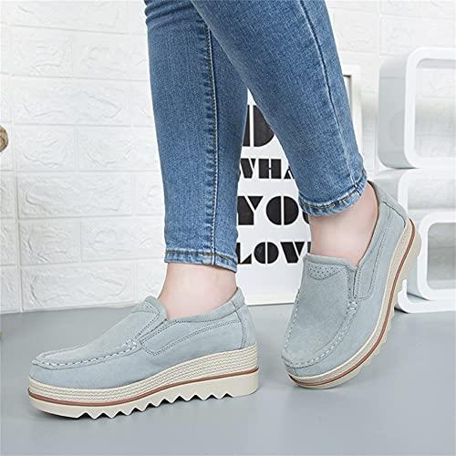 Liart Mocasín de Mujer Zapatos de Plataforma de Gamuza Tacón de Cuña Zapatos Casuales Antideslizantes Zapatos de Jogging Sin Cordones Zapatillas de Deporte