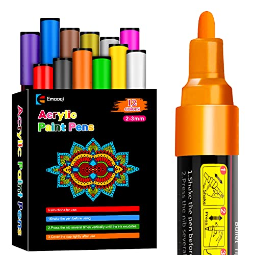 Acrylic Paint Pens, Emooqi Set of 12 Pcs Paint Markers Pens for Rocks, Craft, Ceramic, Glass, Wood, Fabric, Canvas -Art Crafting Supplies