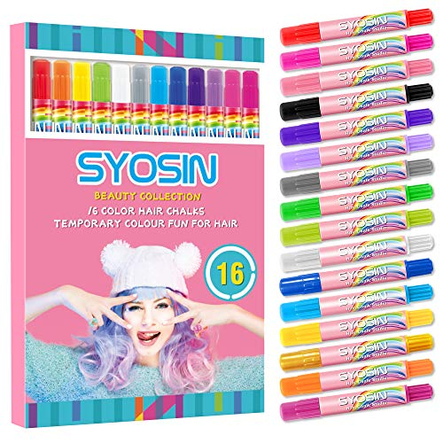 SYOSIN Hair Chalk, Hair Colorations, 16 Colors Temporary Hair Color Pen for Girls Kids, Colorful Professional Waxy, Hair Color for Halloween Makeup, Birthday Gifts, Carnival, Party, Christmas