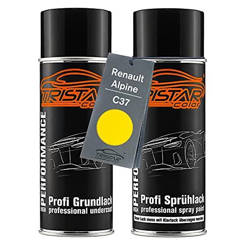 TRISTARcolor Autolack Spraydosen Set für Renault/Alpine C37 Jaune Grundlack Basislack Sprühdose 400ml