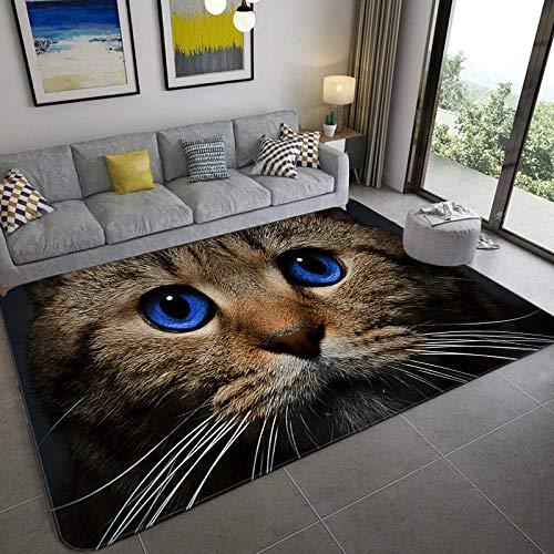 GFHDFHDFJS Carpet,Comfortable Soft Non-Slip Area Rug Blue Eye Cat 3D Printing Carpet for Living Room Bedroom Dining Room Rugs Floor Mat Home Decoration,200X300Cm