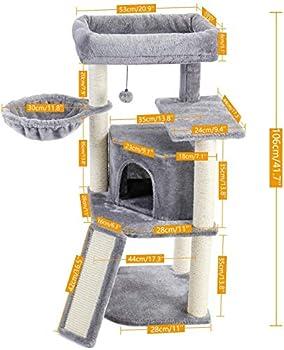 Eono Essentials Arbre à Chat design idéel pour le coin de mur, Maison pour chat Centre d'Activité Arbre Chat avec Poteaux sisal à griffer & Niche & Plate-forme spacieuse pour chat chaton Gris 106cm
