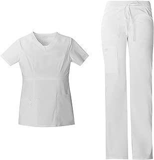 Cherokee Workwear Core Stretch Women's Scrub Set - 24703 V-Neck Top & 24001 Low Rise Drawstring Cargo Pant