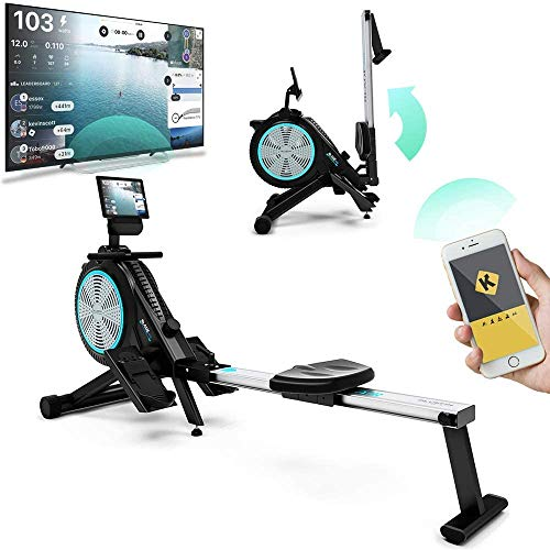Bluefin Fitness Blade Air Máquina de Remo | Plegable | Sistema Magnético Doble + Resistencia al Aire | Kinomap | Video Streaming en Directo | Video Entrenamiento y Ejercicios | Consola Digital LCD