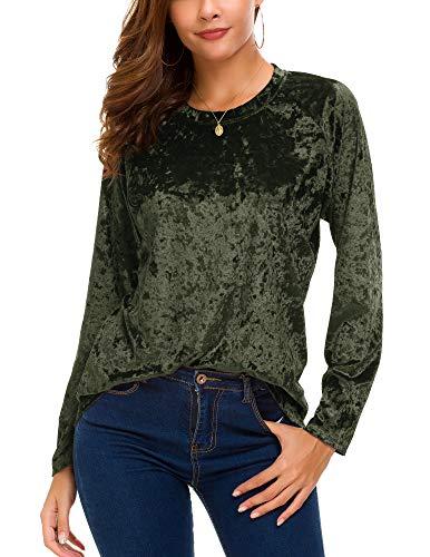 Women's Vintage Velvet T-Shirt Casual Long Sleeve Top (XL, Green)