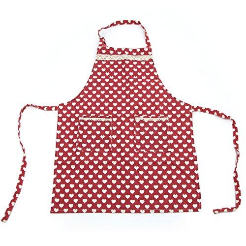 Pink Papaya Grembiule, Grembiule da Cuoco in 100% Lino di Cotone, Grembiule da Cucina Ellen, Colore: Rosso con Cuori ed Applicazioni in Pizzo…