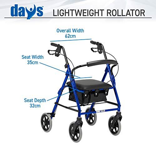51ky1oPA 1L - Rollator de ruedas livianas, andador de cuatro ruedas plegable con asiento acolchado, asas ergonómicas, bolsa de transporte, frenos bloqueables, ayudas para la movilidad, pequeño, azul
