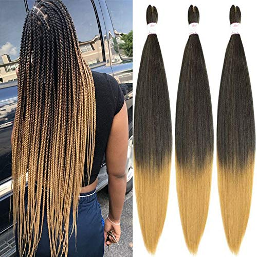 Befunny Pre-stretched Braiding Hair Prestretched Ombre Honey Blonde Braid Weave Hair 8 Packs 30 Inch Long Two Tone Synthetic Crochet Hair For Human Box Braids Yaki Straight, Itch Free(30',T1B/27)