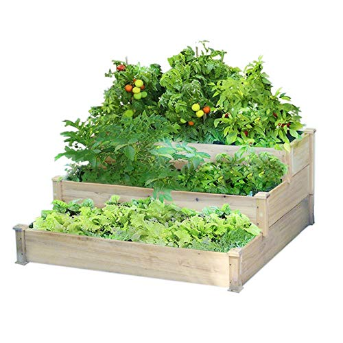 The Fellie Raised Grow Bed 3-floors Flower Vegetable Herb Grow Box Solid Fir Wood Plant Raised Bed