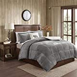 Woolrich Alton Ultra Soft Plush to Sherpa Berber Down Alternative Cold Weather Winter Warm Comforter Set Bedding, King, Charcoal/Ivory