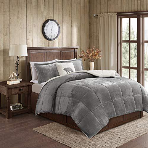 F/Q Alton Down Alternative Comforter Set - Charcoal/Ivory