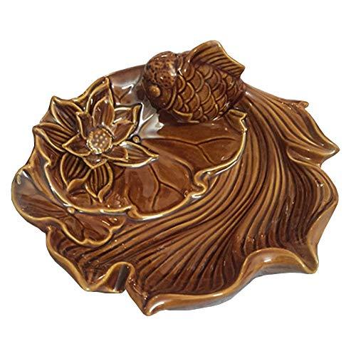 LIXBB HAOYANGYHG- Cenicero de cerámica China Retro Oficina Sala de Estar Personalidad decoración del hogar YHGGHJG-152 (Color : Brown, Size : 17 * 9cm)