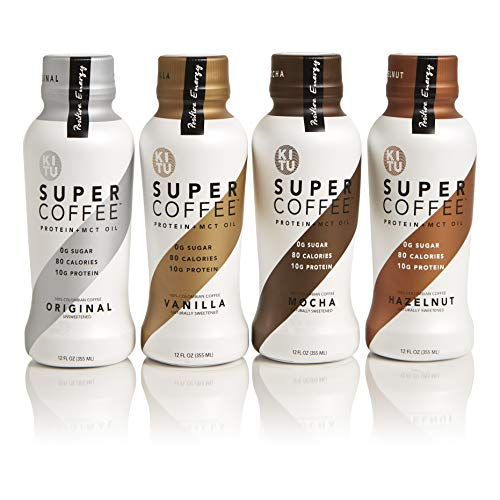 Kitu by Sunniva Super Coffee Sugar-Free Formula Variety Pack, 10g Protein, Keto Approved, Lactose Free, Soy Free, Gluten Free (3 each of Vanilla, Mocha, Hazelnut, and Original)