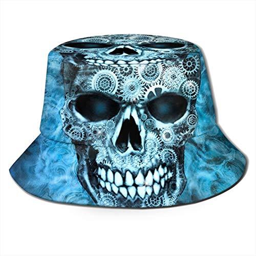 TYUO Sombrero de pescador Steampunk Calavera Azul Flaming Steampunk Skull Sun Bucket Sombreros de pesca al aire libre Camping