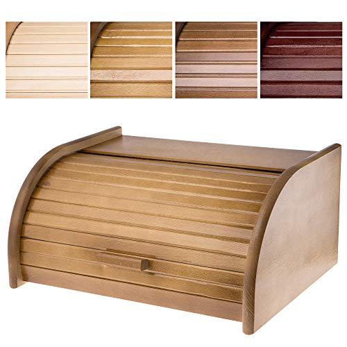 KADAX - Panera espaciosa de madera de alta calidad, panera con tapa enrollable para mayor frescura, con tapa frontal,...