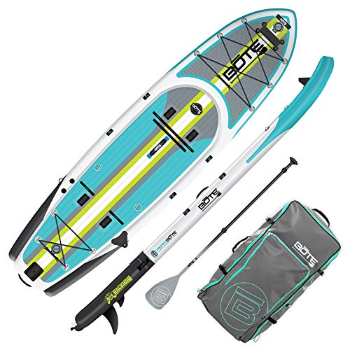 BOTE Rackham Aero Inflatable Stand Up Paddle Board for Fishing, SUP with Accessories   Pump, Paddle, Fin, Travel Bag (Rackham Aero, Full Trax Citron)