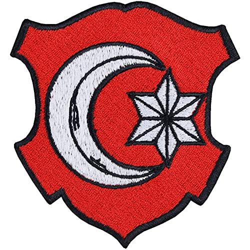 Parche de Turquía con bandera turca, parche para motero, adhesivo rockero, bandera otomana, para aficionados a Turquía, para manualidades, chaleco, vestido, camiseta, chaqueta, 80 x 75 mm