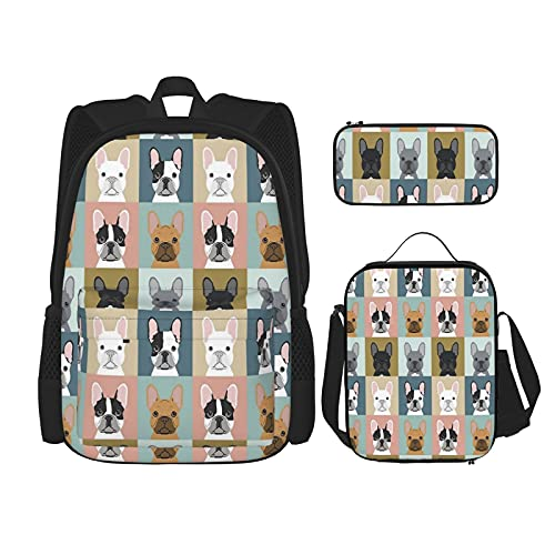 Nelife Cute French Bulldogs School Backpack 3 Piece Set For Boys And Girls (School Bag + Pencil Case + Lunch Bag Combination)