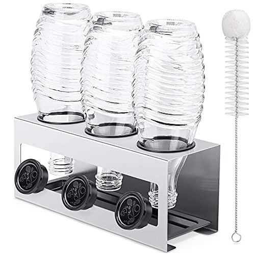 Luxebell Soda Flaschenhalter, 3er Abtropfhalter Soda Flasche aus Edelstahl mit Herausnehmbare Tropfschale Abtropfgestell für SodaFlasche und Glas Flaschen (Silber grau)