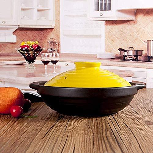 zyl Cazuela de cerámica Plana Antiadherente cazuela para cacerolas Cazuela Utensilios de Cocina saludables Utensilios de Cocina Resistentes al Calor Sopa Utensilios de Cocina Calientes con Tapa