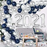 Kederwa Graduation Decorations 2021 Blue and Silver, 2021 Graduation Balloons Navy Blue and Silver, Balloon Garland Arch for 2021 Graduation Party Supplies