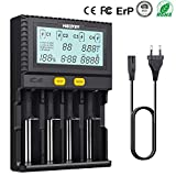 KINDEN 18650 chargeur piles 4 Slot automatique avec charge Affichage LCD Mode pour Li-ion Ni-MH Ni-Cd AA AAA AAAA C 22650 18490 18350 RCR123 (les piles ne comprennent pas)