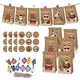 Frgasgds - Bolsas de papel navideñas, 24 unidades con pegatinas + 24 clips de...