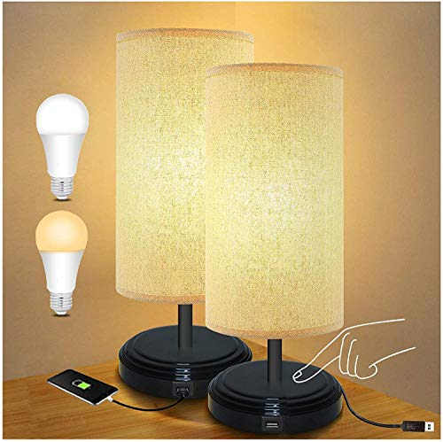 USB Berührungssensor Nachttischlampe, BRTLX DC 5V Dimmbare Tischlampe Nachtlicht für Schlafzimmer, Wohnzimmer, Büro mit USB Ladeanschluss 2er-Pack (6w E27 LED Birne Enthalten)