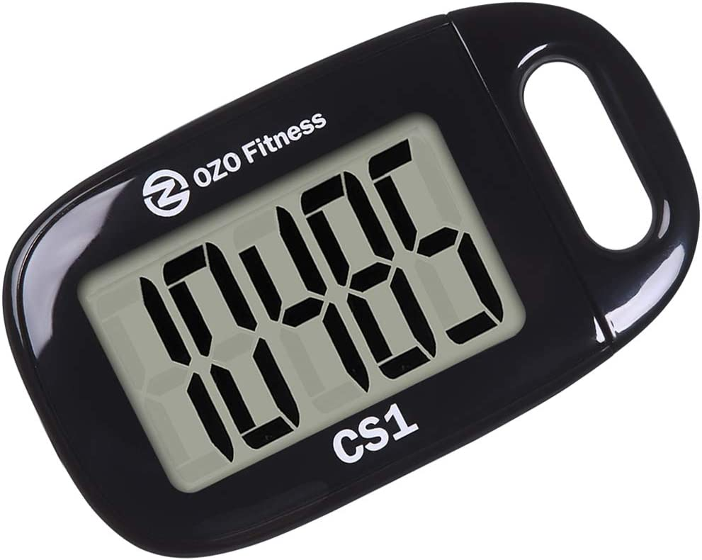 CS1 Easy Pedometer for Walking   Clip on Step Counter   Large Display & Lanyard (Black) : Sports & Outdoors