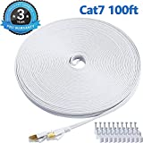 Best Ethernet Cable 100fts - CAT 7 Ethernet Cable 100 Ft White Flat Review