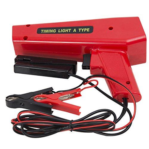 HOMCOM Pistola Estroboscopica 12V Motor Gasolina Lámpara Xenon Punto De Encendido Color Rojo