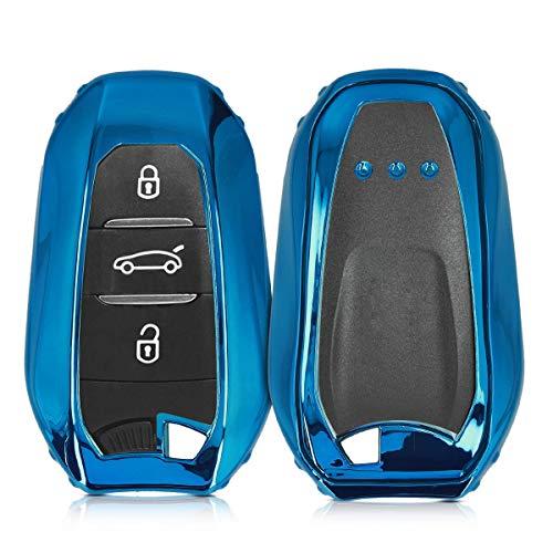 kwmobile Funda Compatible con Peugeot Citroen Llave de Coche Smartkey de 3 Botones (Solo Keyless Go) - Carcasa Suave de Silicona - Protección Total para Llave de Coche Mando de Auto