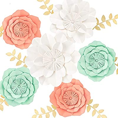 KEY SPRING 3D Paper Flower Decorations, Giant Paper Flowers, Large Handcrafted Paper Flowers (Mint, Coral, White Set of 6) for Wedding Backdrop, Bridal Shower, Table Centerpieces, Nursery Wall Decor