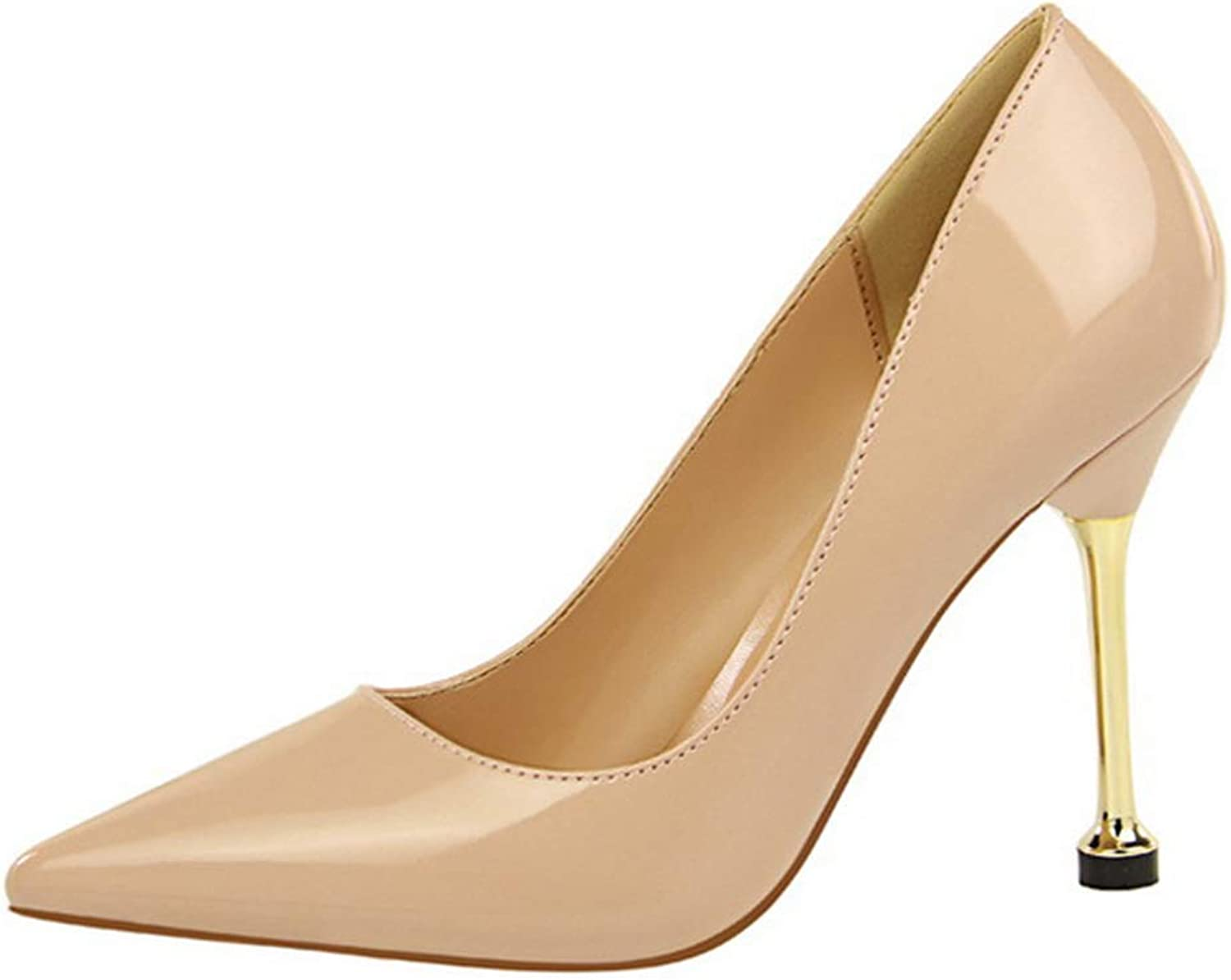 Drew Toby Women Pumps Shallow Fashion Pointed Toe Concise Patent Leather Office High Heels