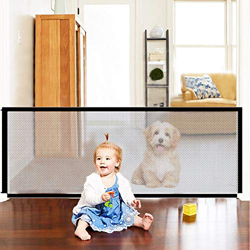 Magic Pet Gate for Dogs, Mesh Dog Gate, Retractable Dog Gate, Baby Gates for Dogs, Dog Gates for Doorways, Gates for Kids or Pets, Retractable Baby Gate for Stairs House, Baby Safety Gates (L) (Large)