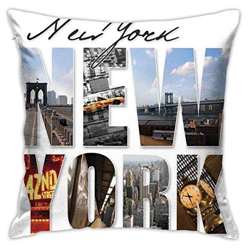 QUEMIN Federa per Cuscino in Poliestere Fodera per Cuscino New York City Collage con Divano Decorativo per la casa (18 x 18 Pollici / 45 x 45 cm)