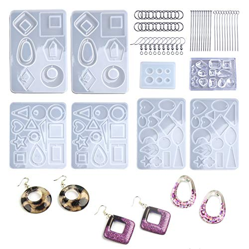 LETS RESIN 198PCS Resin Jewelry Molds, with 8 Pairs Earring Resin Molds, 2pcs Stud Earring Resin Molds for Jewelry, Earring Hooks, Jump Rings, Head/Eye Pins for Resin Jewelry, Pendant