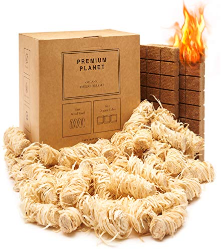 Premium Planet Large BBQ Firelighters Set   Eco-Friendly   100+ Fires   Multipack   100% Natural   Wood Wool & Organic Bricks   Barbeque, Barbecue, Fireplaces & Wood Burning Stoves