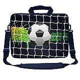 Meffort Inc 15 15.6 inch Neoprene Laptop Bag Sleeve with Extra Side Pocket, Soft Carrying Handle & Removable Shoulder Strap for 14' to 15.6' Size Notebook Computer - Soccer Design