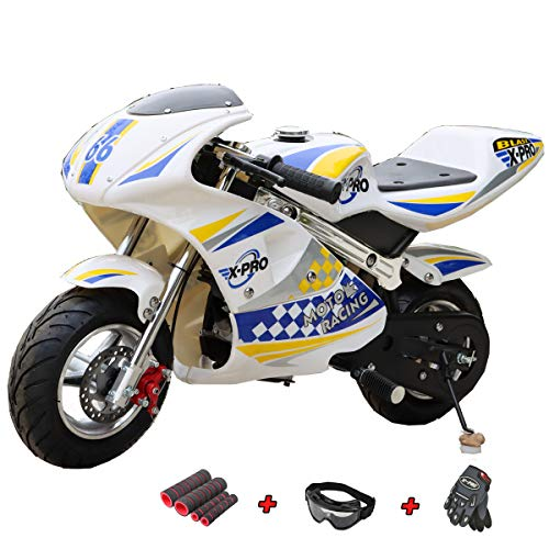 X-PRO Blast 40cc Gas Pocket Bike Mini Motorcycle Ride-On 4-Stroke Engine for Kids Padded Seat (Blue)