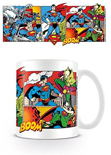 1art1 Superman, Superman Comic, Dc Originals Foto-Tasse Kaffeetasse (9x8 cm) Inklusive 1x Überraschungs-Sticker