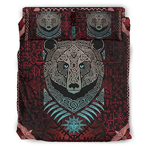 Knowikonwn Juego de 4 fundas de edredón de oso vikingo, funda de edredón y funda de almohada, suave y cómoda, juego de sábanas blanco 4 228 x 228 cm