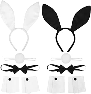 FRCOLOR Konijntje Bunny oren hoofdband vlinderdas staart set Halloween kostuum kit accessoires voor cosplay kostuum party ...
