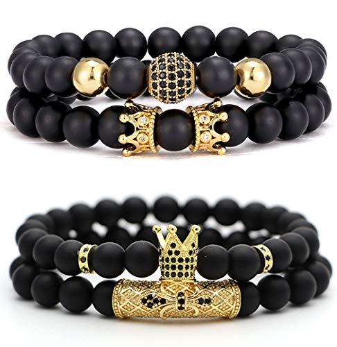 CARSHIER - 4 pulseras para hombres y mujeres, piedra de lava de la amistad, 8 mm, difusor de aceites esenciales naturales, pulseras de cuentas para regalos