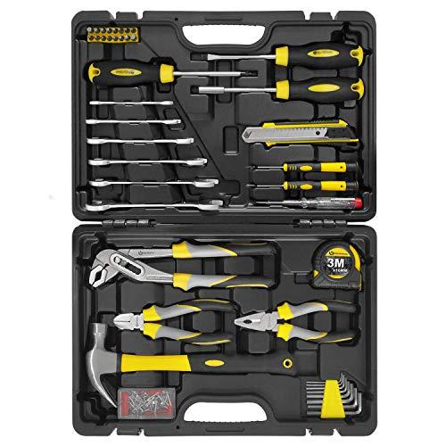 WZG Werkzeugset im Koffer, Werkzeug-Set,Werkzeugkoffergefüllt, robust und hochwertig,ideal für den Haushalt oder die Garage, im praktischen Kunststoffkoffer 98 teilig