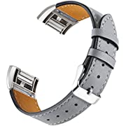 bayite Leather Bands Compatible with Fitbit Charge 2, Replacement Accessories Straps Women Men, Smoke Gray